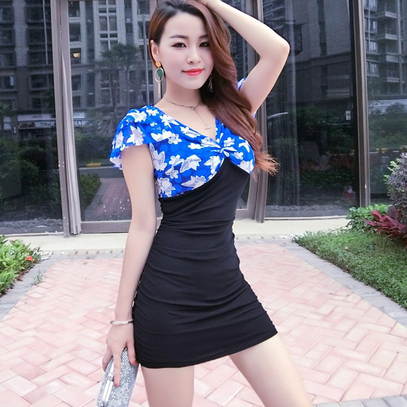 夏季性感夜店女装深领低胸修身露背吊带包臀超短连衣播服装