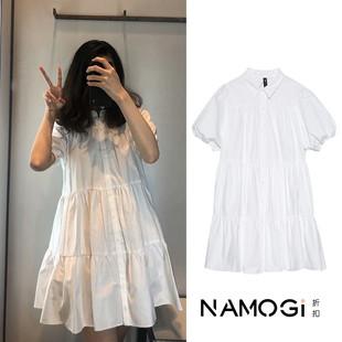 UR.ZARA.Z 新款女裝夏短袖顯瘦白色寬鬆寬擺連衣裙女 02648202250