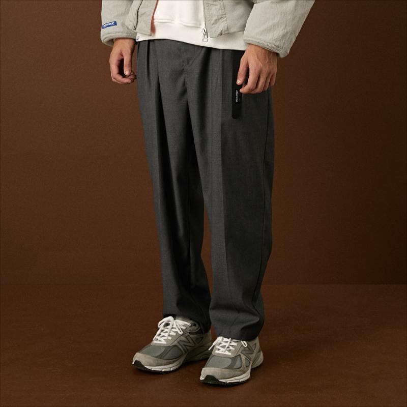 WASSUP秋冬季男装经典立体宽松双皱边西裤 国潮牌直筒休闲长裤图片
