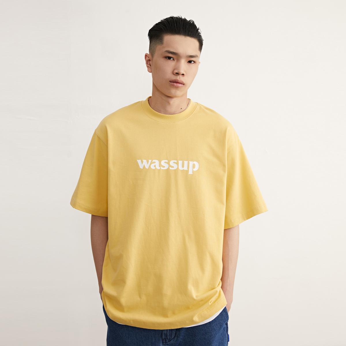 wassup短袖潮牌夏季粉色白色男t恤