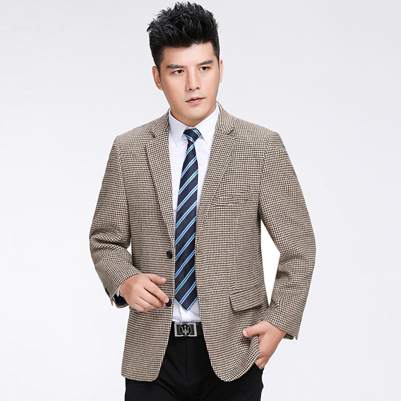 Crazy grab brand mens suit middle-aged large leisure Plaid Wool single west middle-aged and elderly dads suit coat