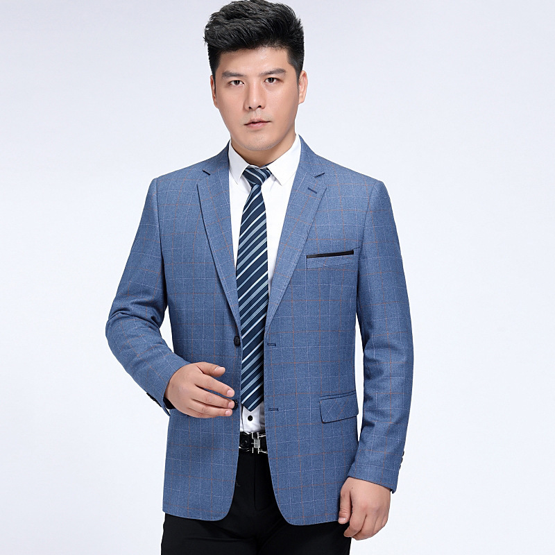 Crazy rush spring and autumn new middle-aged and old-age suit coat two button mens version dads wool is loose and single man
