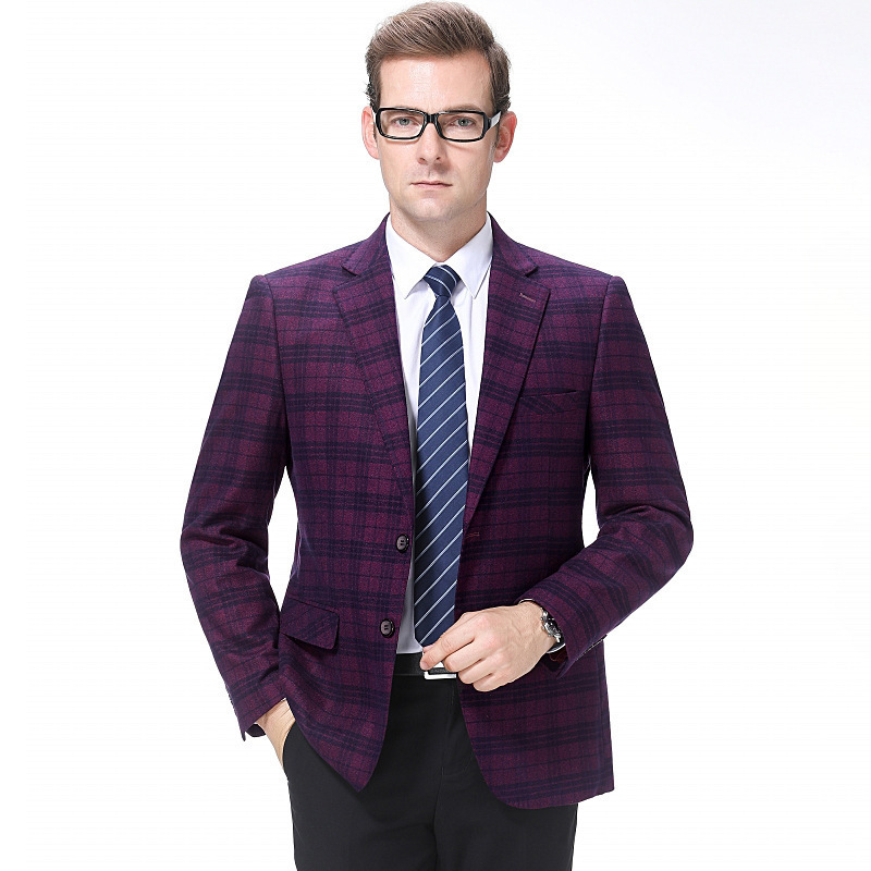 Mens suit autumn and winter fashion casual wool single suit trendy mens plaid coat regular one grain double breasted