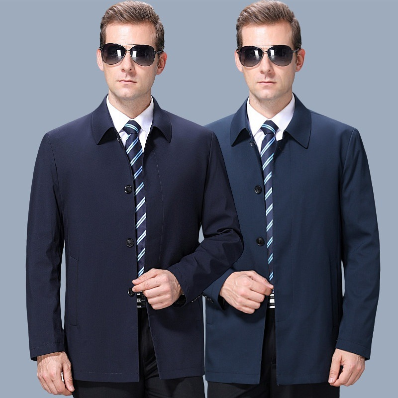Crazy jacket mens middle-aged and elderly dads Lapel business leisure plus size loose coat in spring and Autumn