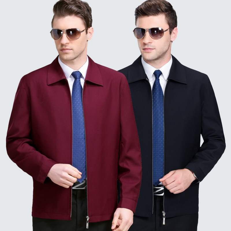 New middle aged and old mens jacket lapel casual thin 2019 loose Plaid fathers middle aged mens coat