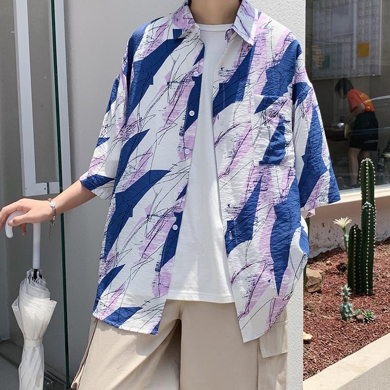 夏季衬衫潮短袖宽松长袖衬衣服外套男装大码A161- W1030-P35