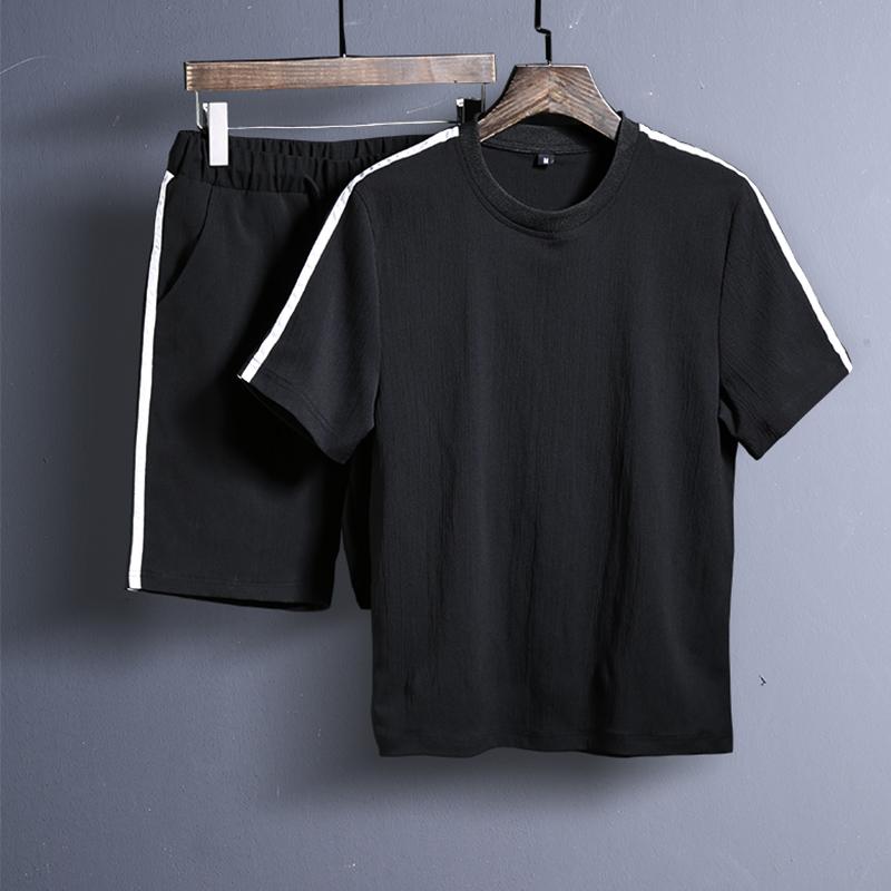 爆18夏季套装男t恤潮新款衣服半袖体恤两件套 黑色 B205-TZ82-P45