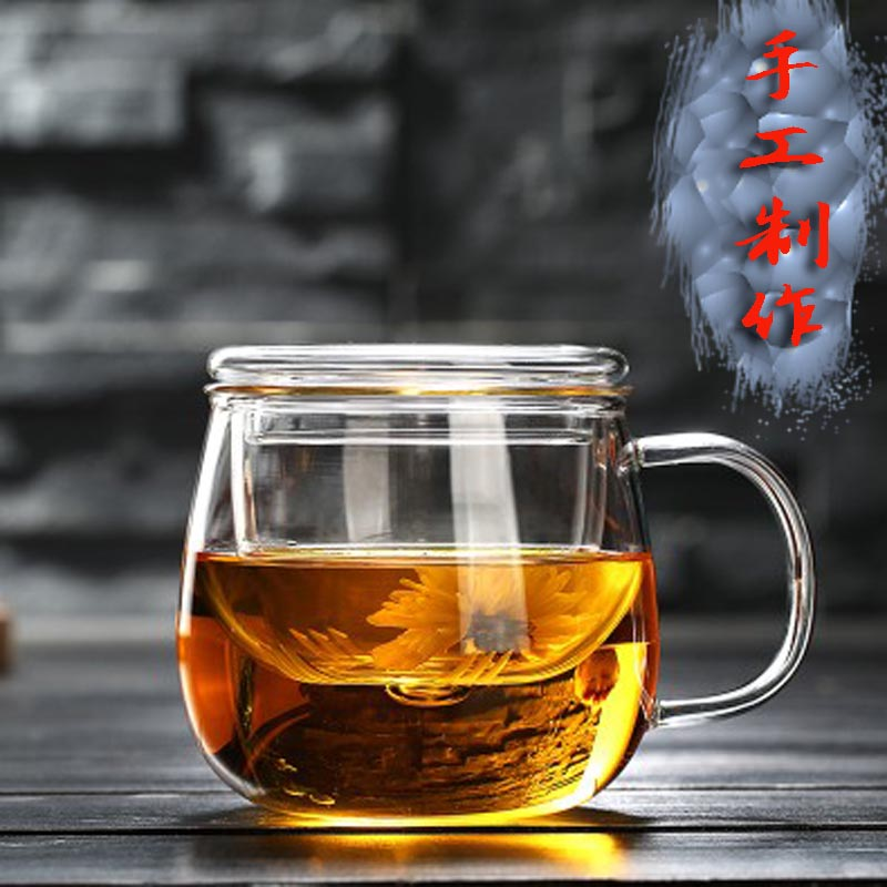 Heat resistant glass flower tea cup with cover filter tea cup for men and women office water cup thickened