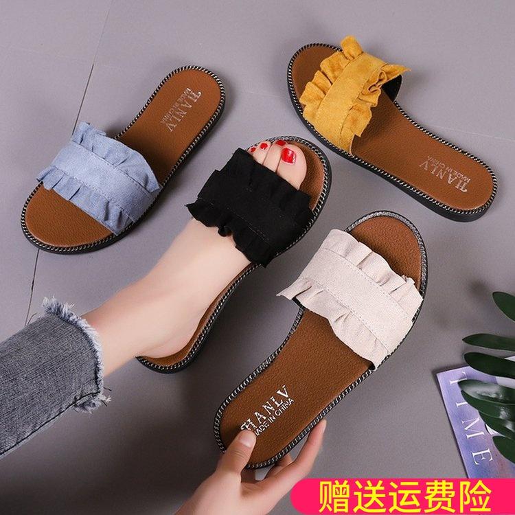 拖鞋女2019夏季新款韩版chic百搭平底外穿一字拖休闲漏趾沙滩鞋