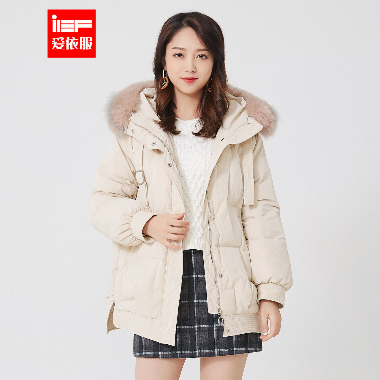 IEF / Aiyi mid length down jacket for women 2019 winter new Korean style loose wool collar Hoodie
