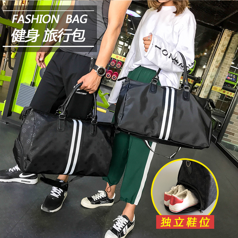 Fashion print contrast stripe hand-held travel bag mens and womens single shoulder large bag sports fitness luggage boarding bag shoes