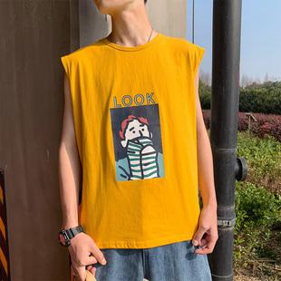 夏季无袖港风ins超火的男士t t恤