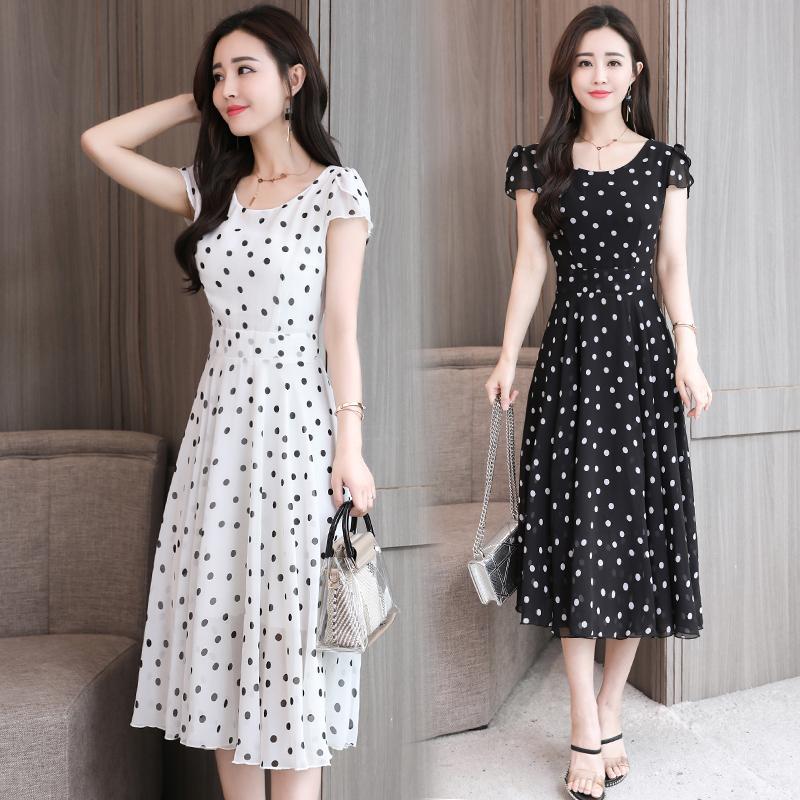 夏季连衣裙女2018新款女装韩版美欧哥弟菲修身显瘦中长款雪纺裙子