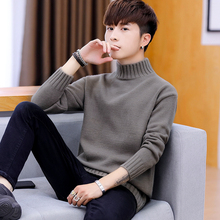 Sweater men's winter 2018 new Korean version of the trend loose half-high collar sweater plus velvet thickening bottoming sweater