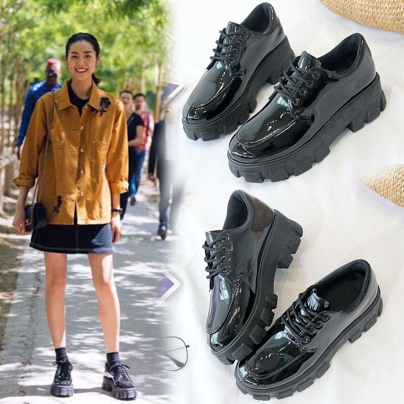 英伦风单鞋女厚底圆头2019秋季新款黑色漆皮松糕鞋系带粗跟小皮鞋