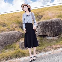 两件套洋气秋季2020年新款女装收腰显瘦连衣裙女气质衬衫套装裙子
