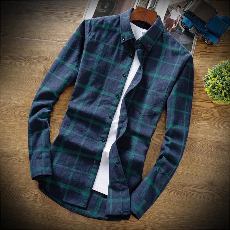 Mens Long Sleeve Plaid Shirt spring new Korean Trend slim bottomed shirt young student handsome inch shirt