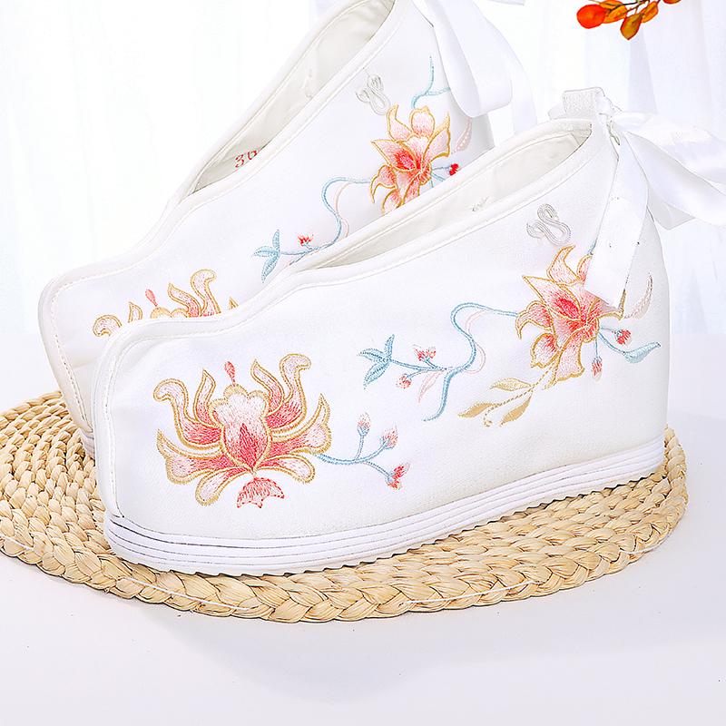 七月荷春夏汉服鞋子女9cm高帮鞋古风内增高布鞋淡雅汉元素绣花鞋