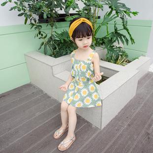 女寶吊帶套裝2020夏款女童洋氣套裝裙太陽花中小童洋氣兩件套裙子