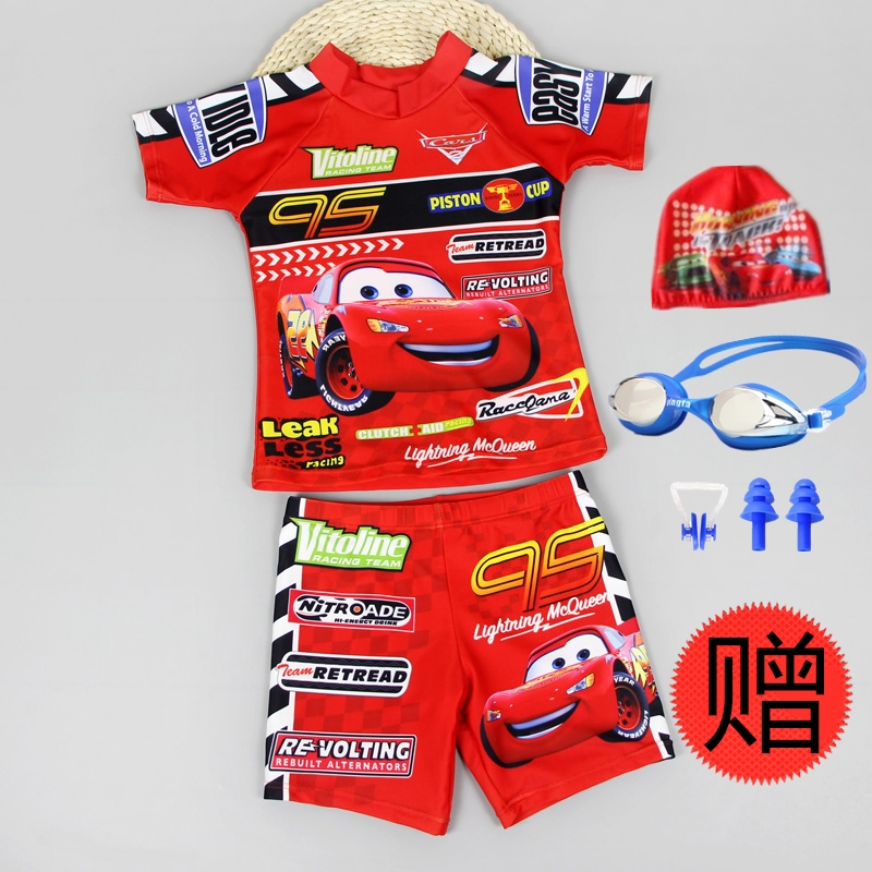 Childrens split swimsuit boy cute cartoon car story Lightning McQueen flat angle suit sunscreen