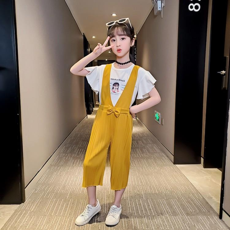 2020 Korean version of individual sleeveless girls summer new one-piece shoulder belt clothes and trousers