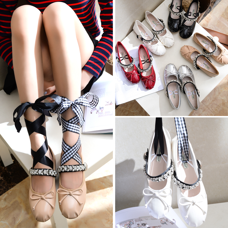 Summer Miu home ballet shoes round head cross bandage bow Rhinestone patent leather flat bottom womens shoes