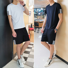 Summer short sleeved shorts men's sports suit loose casual two piece set summer running fitness quick drying sportswear