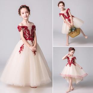 儿童礼服女钢琴演出服高端公主裙洋气花童婚纱女童小主持人蓬蓬裙