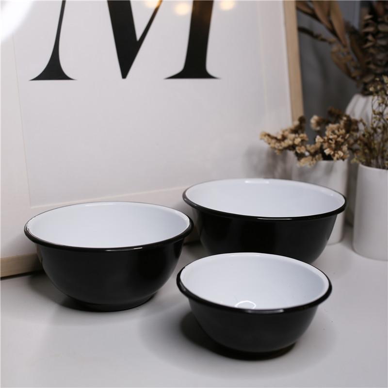 印象搪瓷 珐琅 精炭黑 珐琅搪瓷甜品碗面碗沙拉碗料理碗汤盆