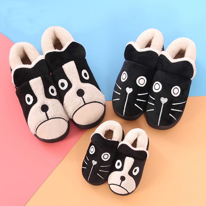 Children's cotton slippers female winter package with a family of three boys child baby cotton-padded shoes paternity lovely home care