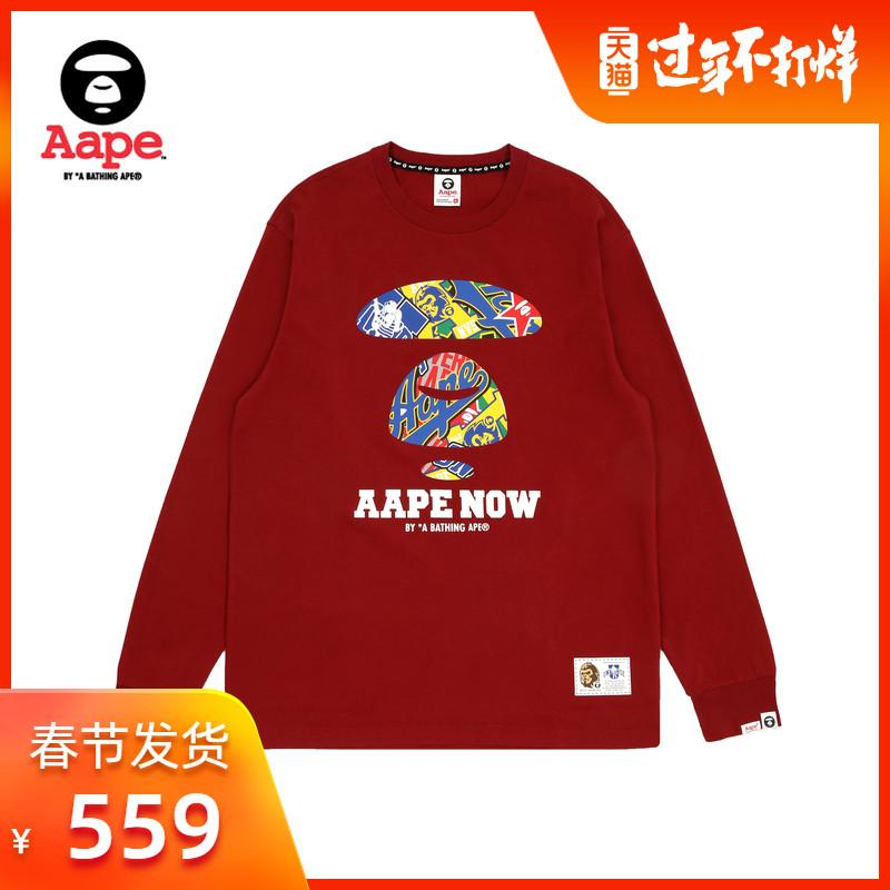Aape男裝秋冬撞色猿顏字母印花標簽潮流長袖T恤0372XXD