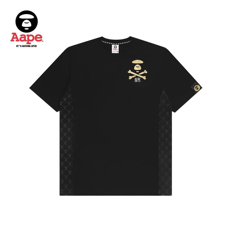 Aape男装春夏烫金猿颜字母印花侧边拼接潮流短袖T恤0272XXC