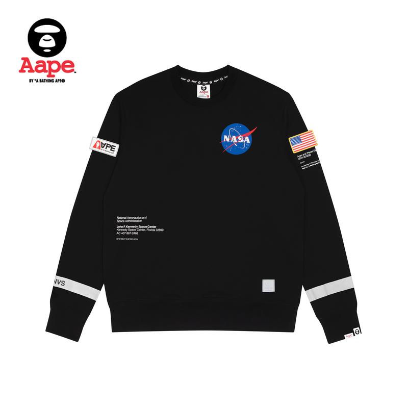AapeX NASA猿颜标签撞色太空字母印花国旗加绒卫衣9331XXD