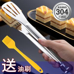 304不锈钢加厚食品夹子厨房夹烧烤夹牛排夹馒头面包夹食物烤肉夹