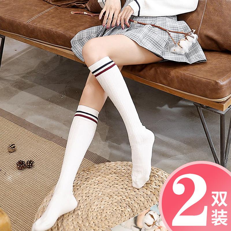 白色长袜子女中筒小腿袜学生学院风ins潮长筒棒球运动可爱日系jk