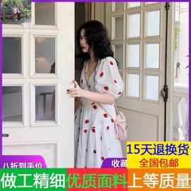 2020年新款裙子仙女超仙森系早春季气质小白裙草莓雪纺连衣裙女夏图片