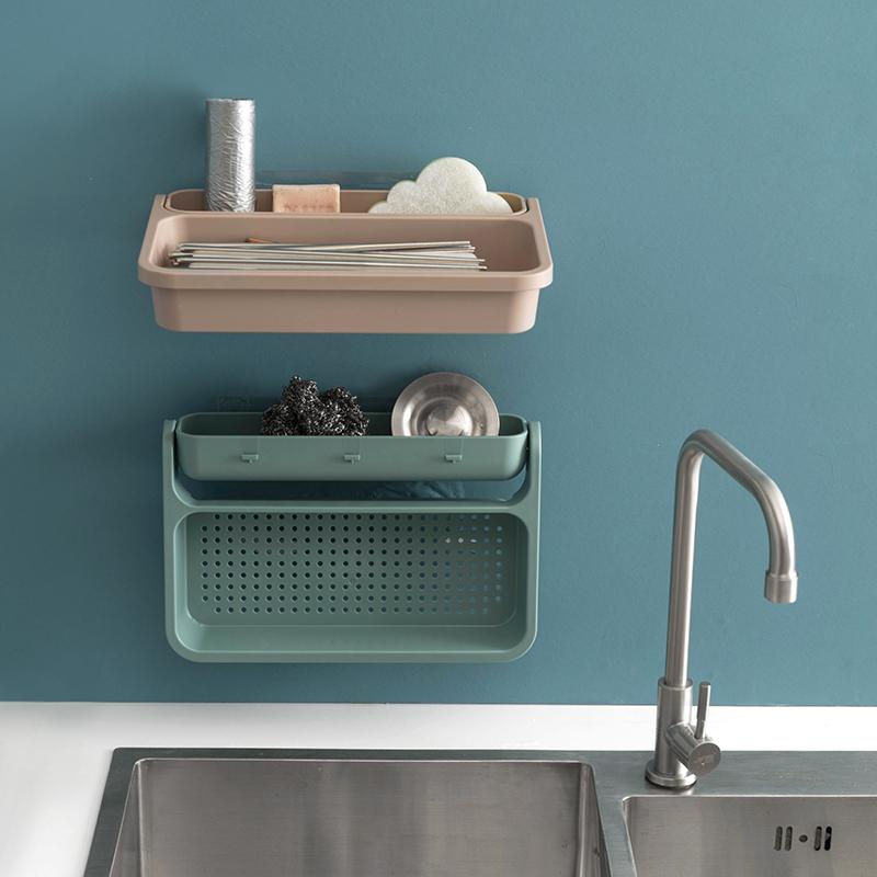 家用免打孔厨房水槽置物架洗菜水果沥水篮多功能碗碟挂架墙面收纳满60.00元可用32.1元优惠券