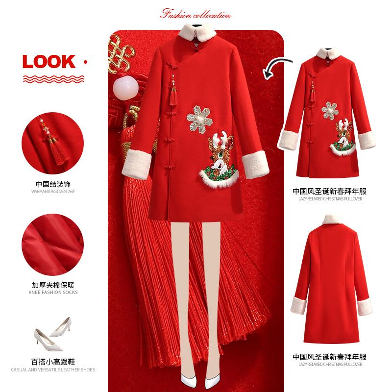 拜年唐装秋冬新年衣服中国风上衣过年中式女装改良旗袍红色连衣裙