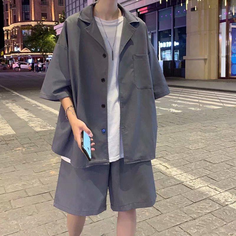 小西装男休闲套装夏季短袖七分袖外套韩版潮流雅痞轻薄款西服-P50