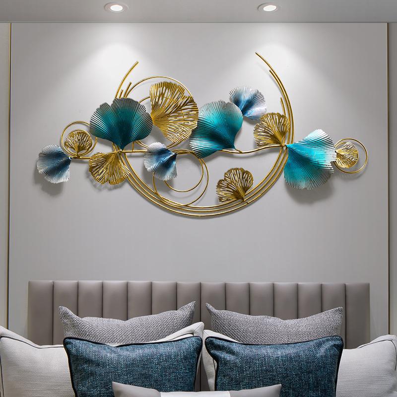 卧室墙面装饰品墙饰金属壁饰银杏叶轻奢壁挂客厅沙发背景墙挂件