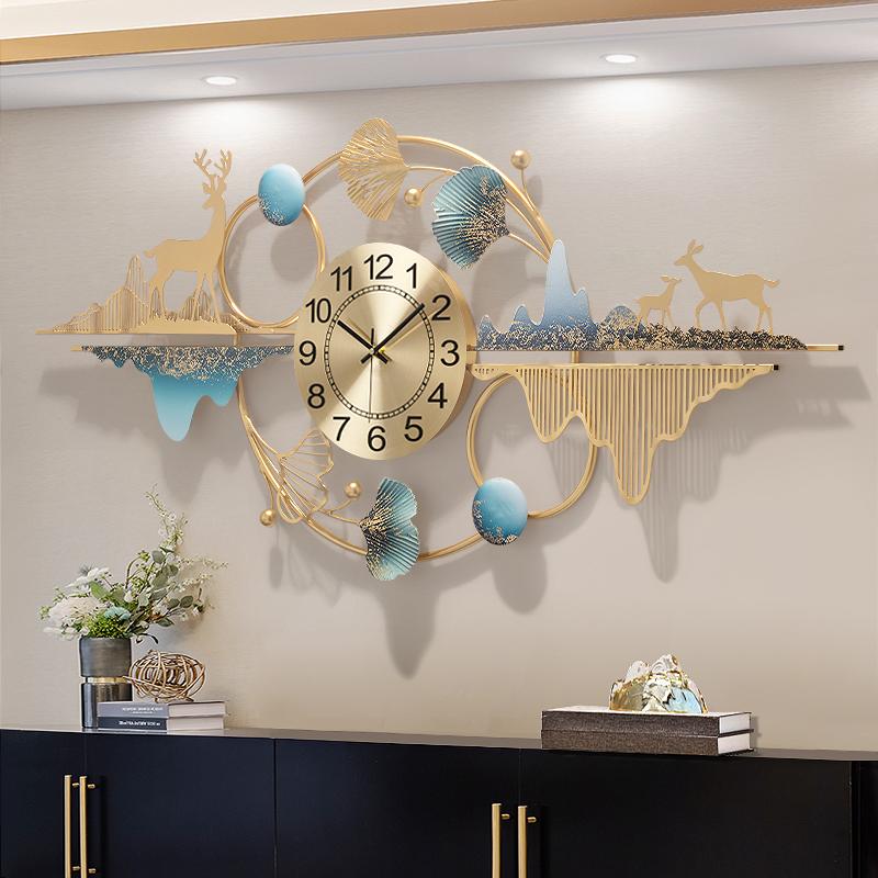 客厅挂钟创意个姓钟表大气现代轻奢挂墙时钟时尚家用餐厅艺术装饰