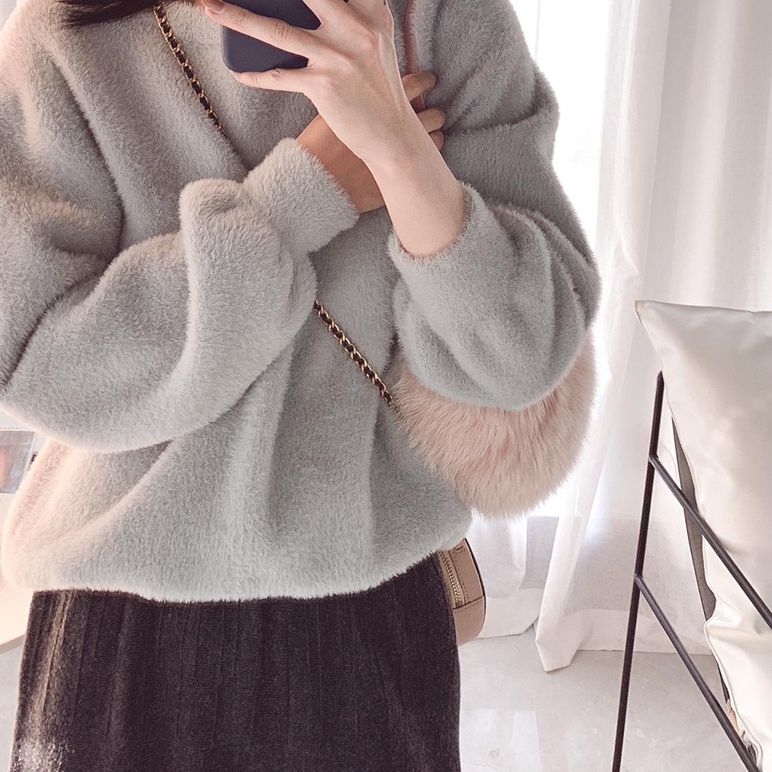 2019秋冬新品女装 韩国精品兔毛混纺仿钻貂女士加厚软糯净色毛衣