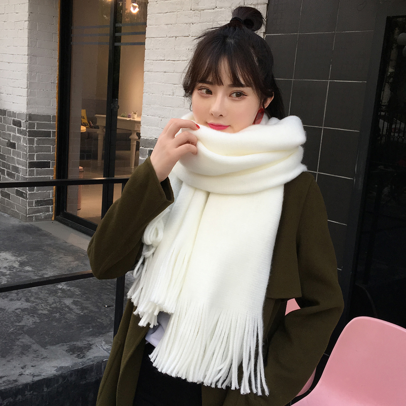 Pure white scarf for women winter thickened two color stitching wool knitting Korean version versatile girl Bib student couple