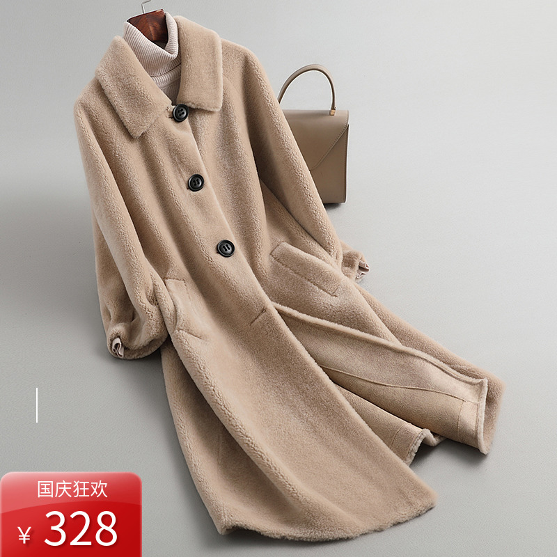 2019 new granular sheep shearing coat medium long wool fur coat womens Haining lamb fur fur one