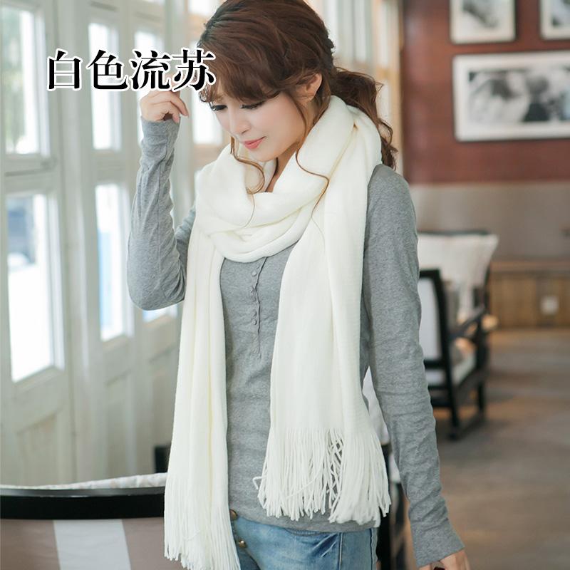 Korean version versatile white scarf female winter red warm wool tassel Beige neck student girl solid