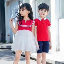 幼儿园园服夏款英伦风校服短袖套装小学生夏季儿童毕业班服定制