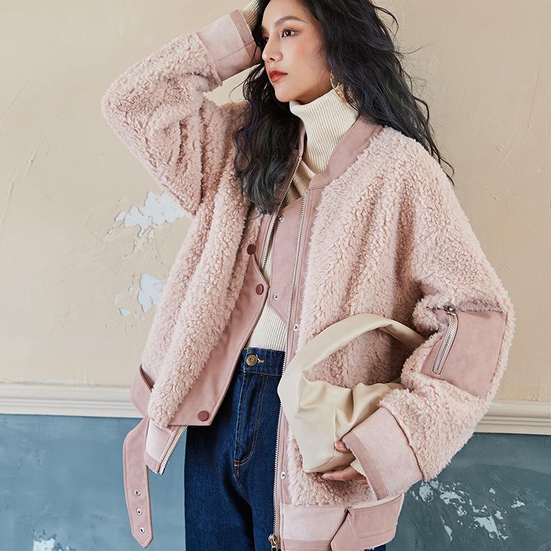 代购粉色羊羔毛颗粒绒外套女潮冬季加厚皮毛一体2020新款韩版宽松