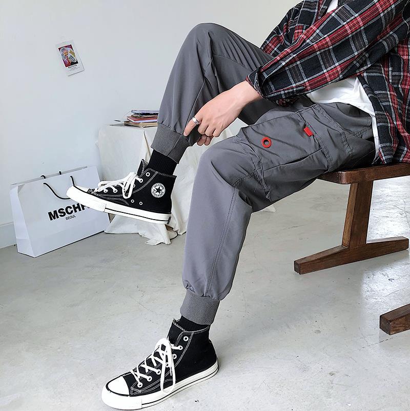 代购长裤男装嘻哈裤子男士裤工装裤束脚休闲裤男宽松日系男裤潮牌
