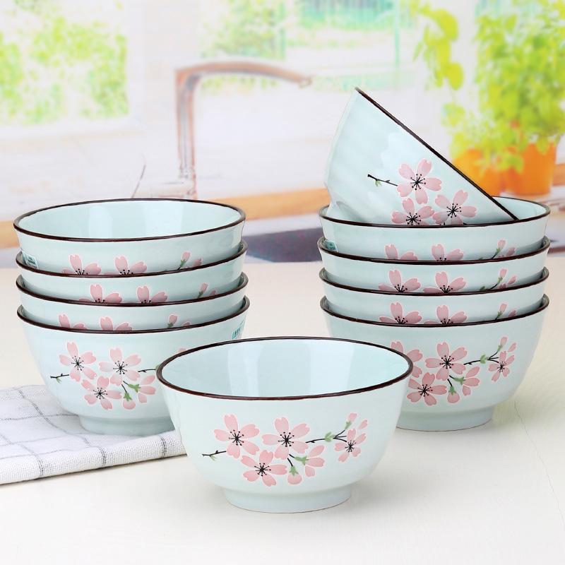 景德镇4.5单个陶瓷米饭碗10个套装5英寸饭碗家用吃饭碗 日式瓷碗