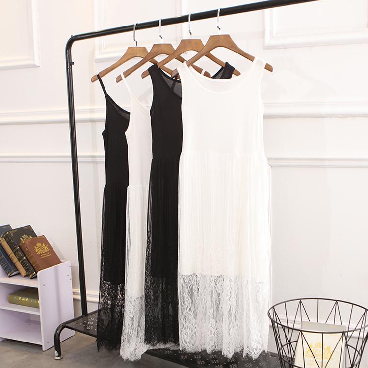 夏蕾絲莫代爾連衣裙女大碼吊帶裙打底長裙寬鬆顯瘦內搭無袖背心裙